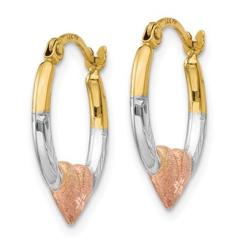 14K & White and Rose Rhodium Heart Hoop Earrings