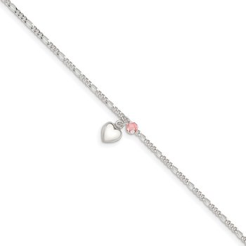 Sterling Silver Cherry Quartz Dangling Hearts on Figaro Link Anklet