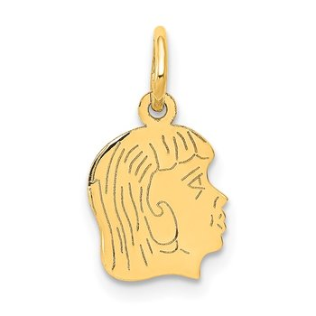 14k .018 Depth Engravable Girl Head Charm