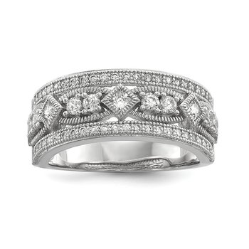 SS Rhodium-Plated CZ Brilliant Embers Polished Ring