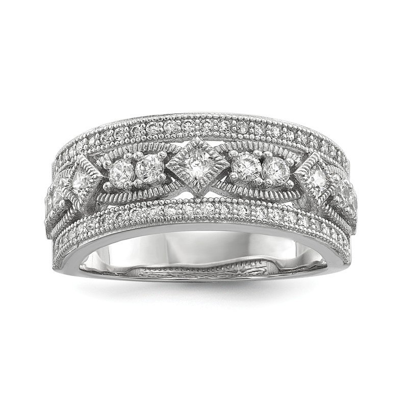 Arizona Diamond Center Collection Sterling Silver & CZ Brilliant Embers Polished Ring