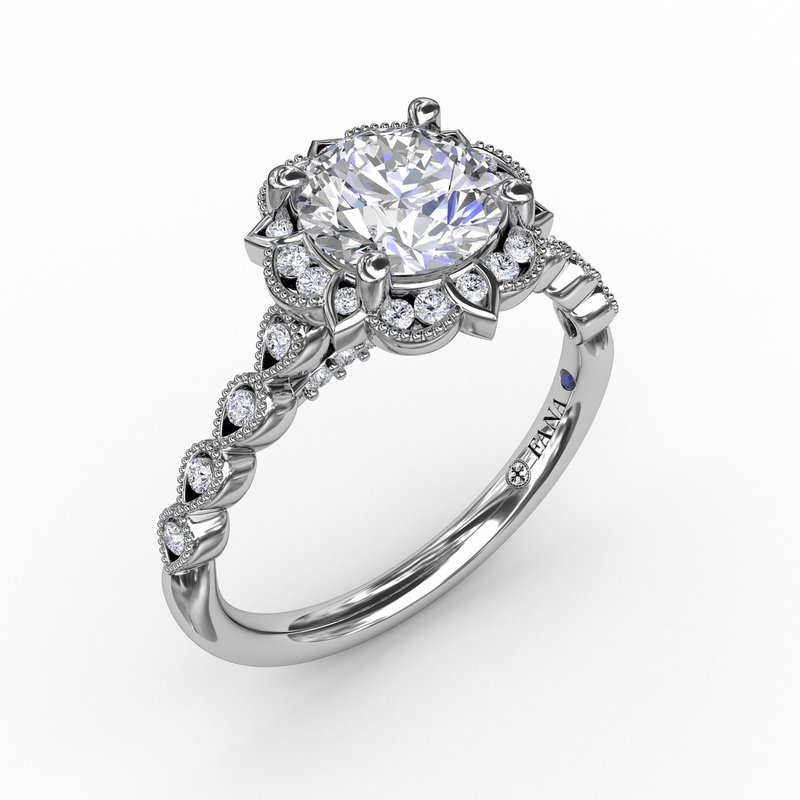 Round Diamond Engagement With Floral Halo and Milgrain Details