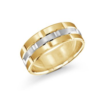Trendy 8mm yellow and white  gold brick motif satin finish band with high polished grooved accents