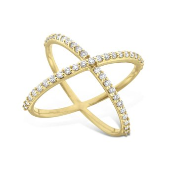 Diamond Contemporary Ring in 14K Yellow Gold with 45Diamonds Weighing  .45ct tw