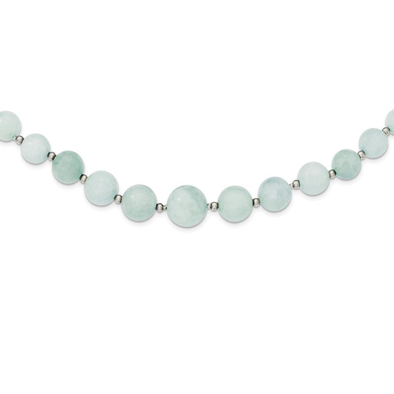 Quality Gold Sterling Silver Beaded & 6-14mm Graduated Aquamarine Necklace