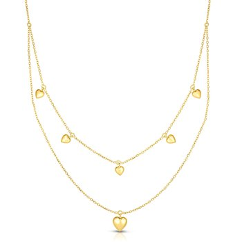 14K Gold Puffed Heart Multi-Strand Necklace