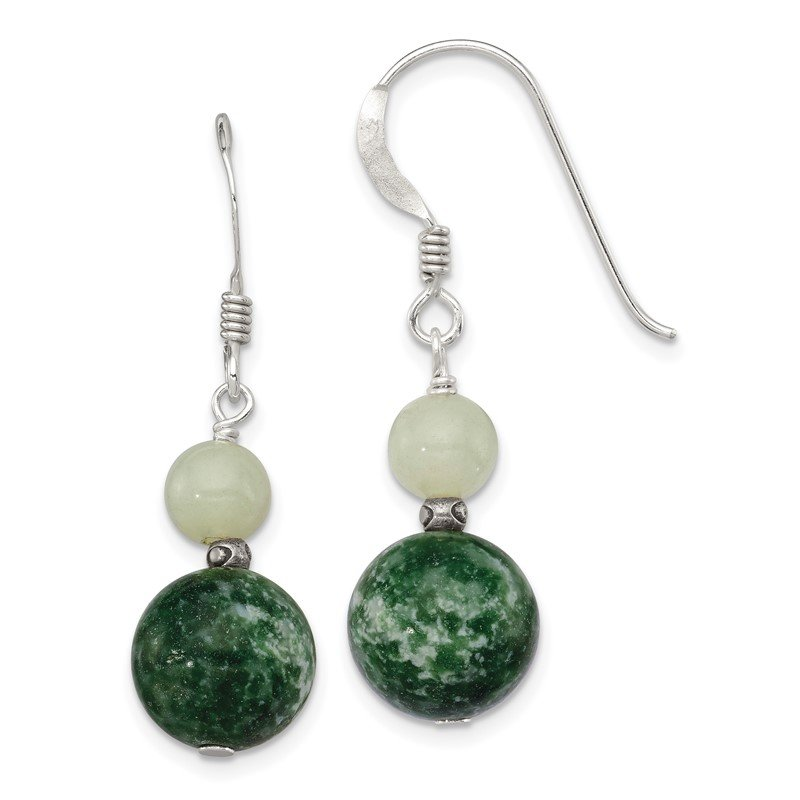 Quality Gold Sterling Silver Green Moss Agate / Green Quartz Earrings