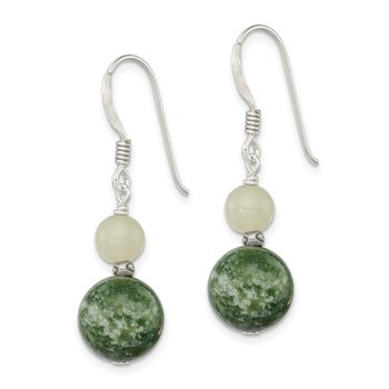 Sterling Silver Green Moss Agate / Green Quartz Earrings