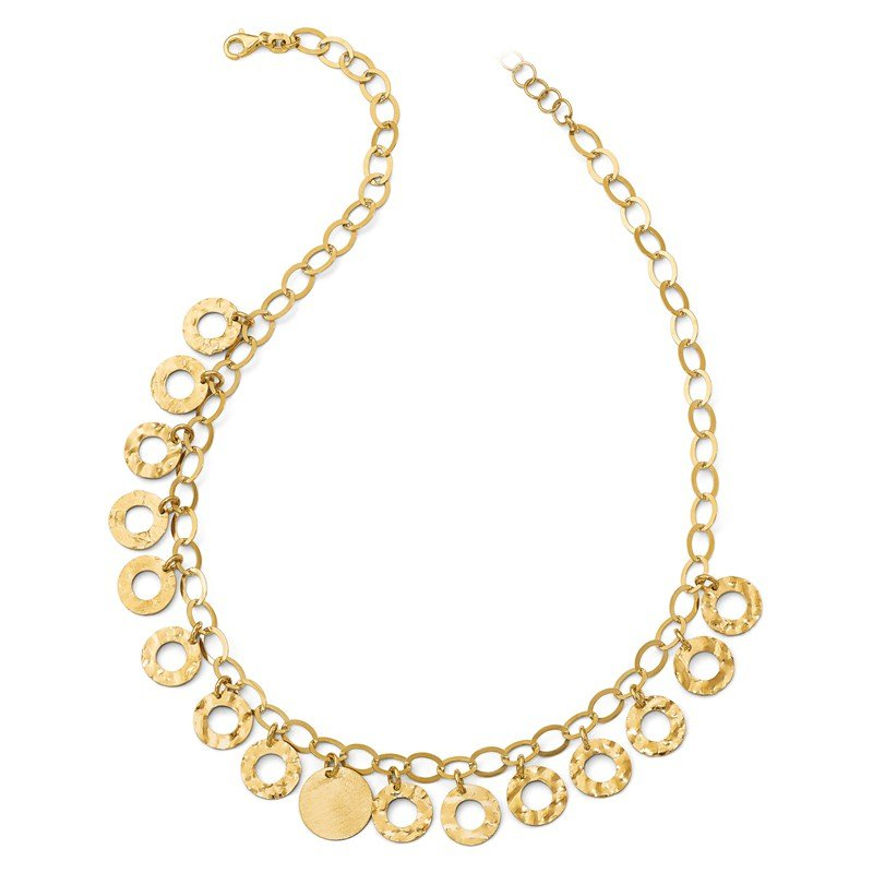 Leslie's Leslie's Sterling Silver Gold-tone Circles w/ 2in ext. Necklace