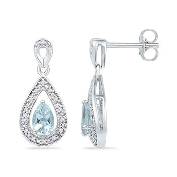 10k White Gold Diamond & Lab-Created Aquamarine Teardrop Dangle Screwback Earrings 5/8 Cttw