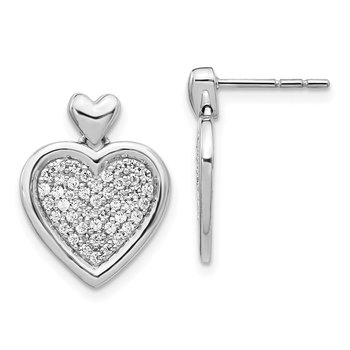 14k White Gold Diamond Fancy Heart Post Earrings