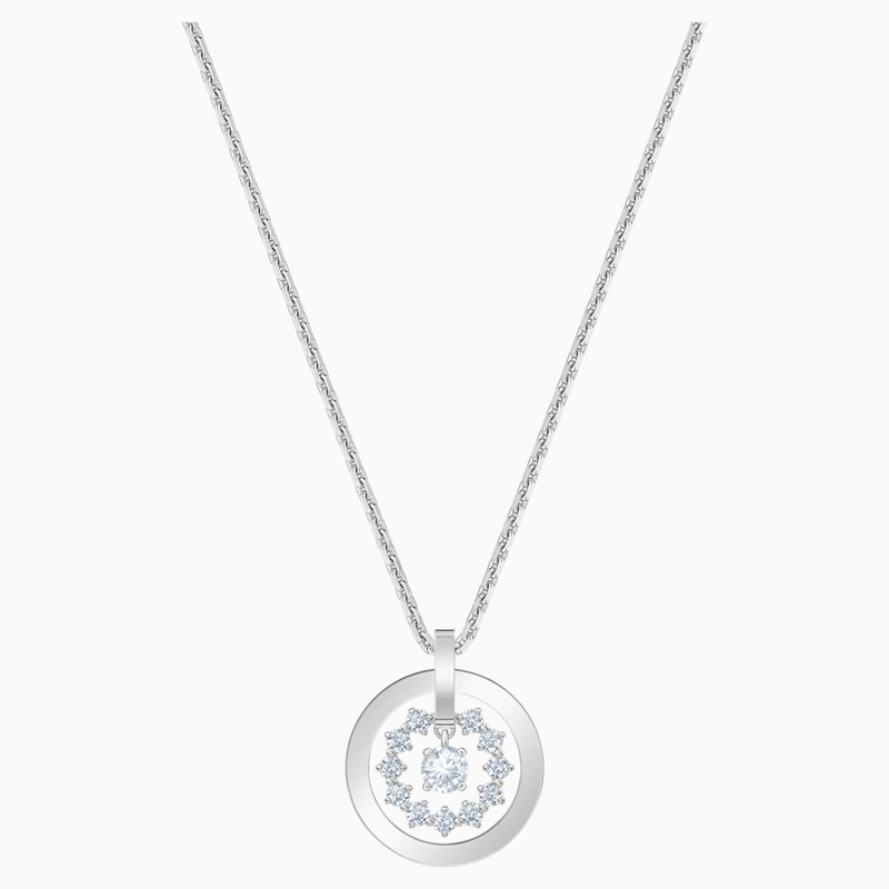 Swarovski Further Necklace, White, Rhodium plated