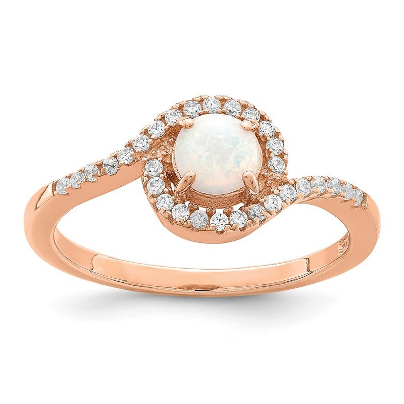 Quality Gold Sterling Silver Rose-tone Created Opal and CZ Halo Ring