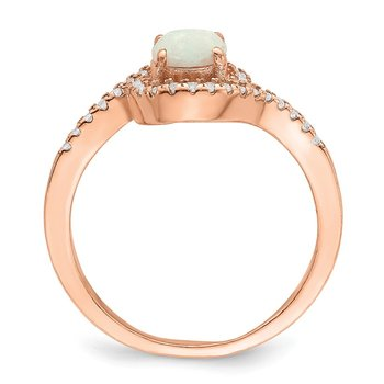 Sterling Silver Rose-tone Created Opal and CZ Halo Ring