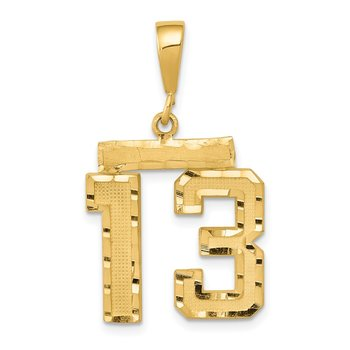 14k Medium Diamond-cut Number 13 Charm