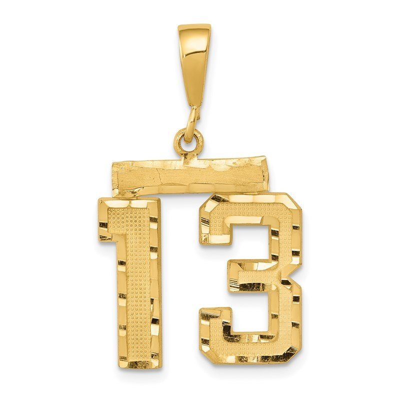 Quality Gold 14k Medium Diamond-cut Number 13 Charm