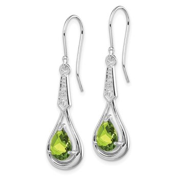 Sterling Silver Rhodium-plated w/CZ & Peridot Dangle Earrings