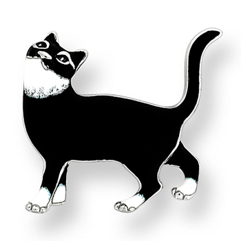 Fine Enamels Sterling Silver Cat Brooch-Black