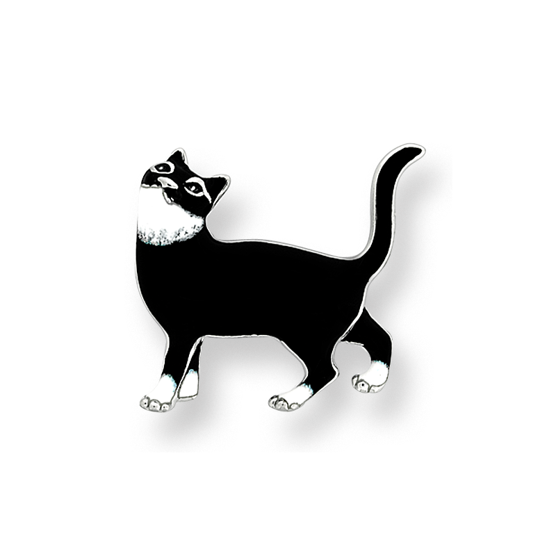 Nicole Barr Designs Fine Enamels Sterling Silver Cat Brooch-Black
