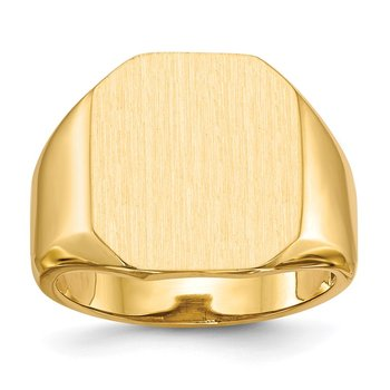 14k 17.0x15.0mm Open Back Mens Signet Ring