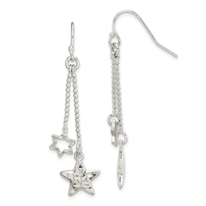 Quality Gold Sterling Silver Diamond-cut Star Dangle Shepherd Hook Earrings