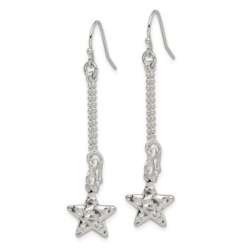 Sterling Silver Diamond-cut Star Dangle Shepherd Hook Earrings