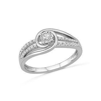 10K WG and diamond fashion ring with two-tone center Hugging design in prong setting