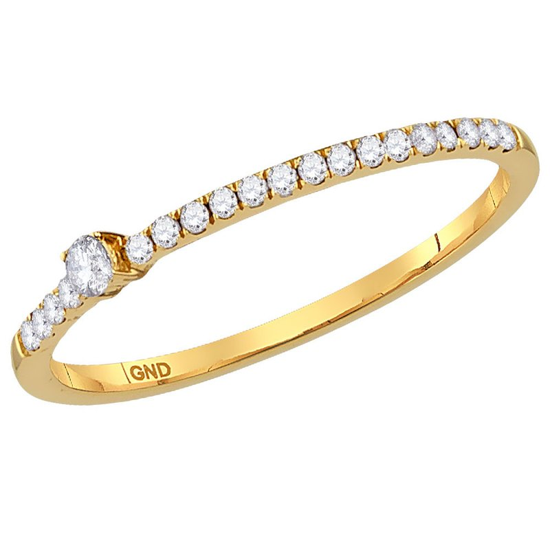 Gold-N-Diamonds, Inc. (Atlanta) 14kt Yellow Gold Womens Round Diamond Solitaire Stackable Band Ring 1/8 Cttw