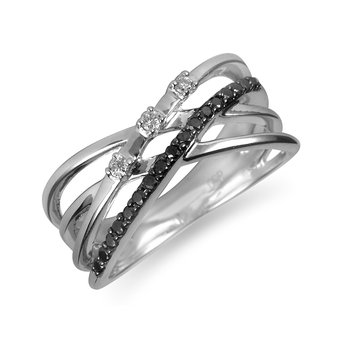 10K WG Black and White Diamond Cross-Over Ring