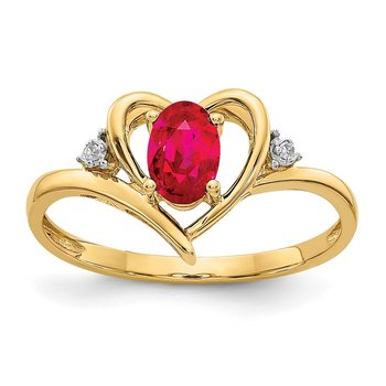 14k Ruby and Diamond Heart Ring
