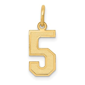 14k Small Satin Number 5 Charm