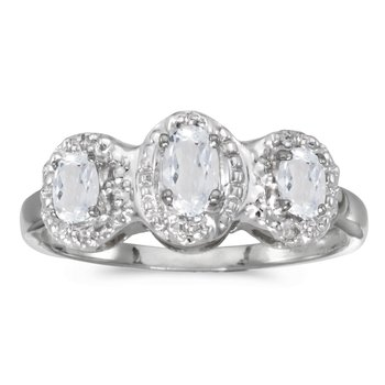 14k White Gold Oval White Topaz And Diamond Three Stone Ring