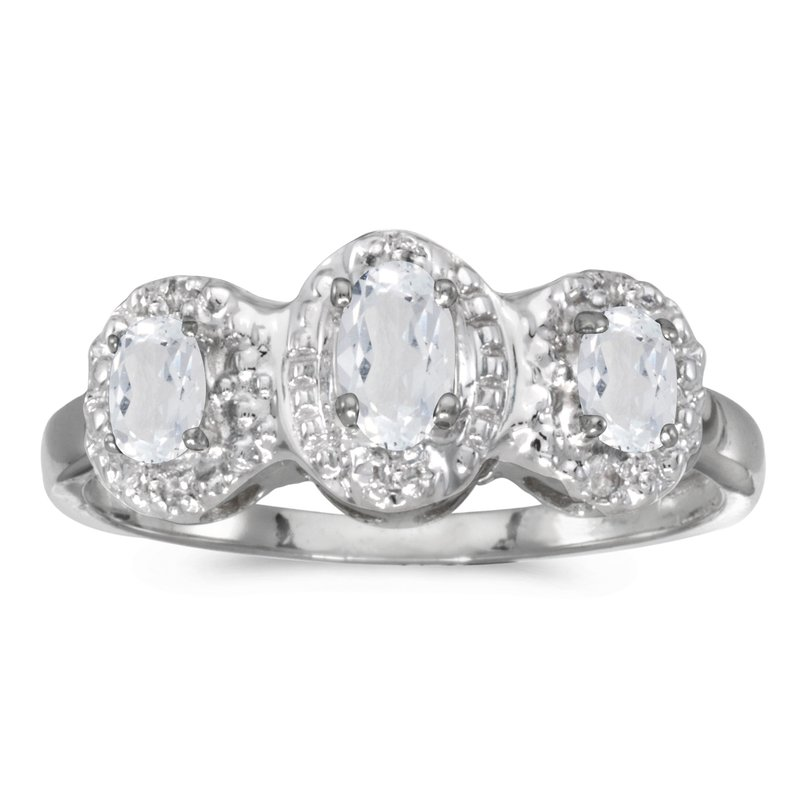 Color Merchants 14k White Gold Oval White Topaz And Diamond Three Stone Ring