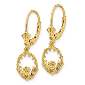 14K Claddagh in Circle Leverback Earrings