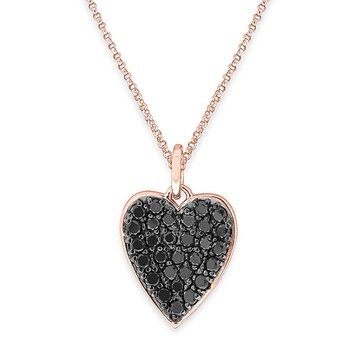 Black Diamond Heart Necklace in 14K Rose Gold with Black Rhodium with 29 diamonds weighing 1.07ct tw