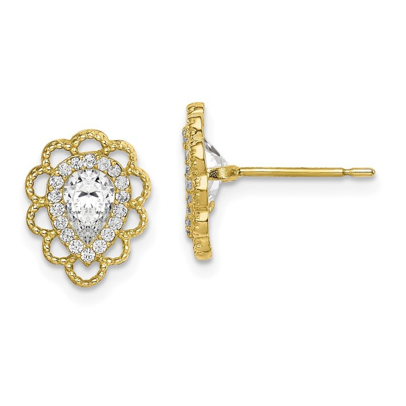 Quality Gold 10K CZ Post Earrings