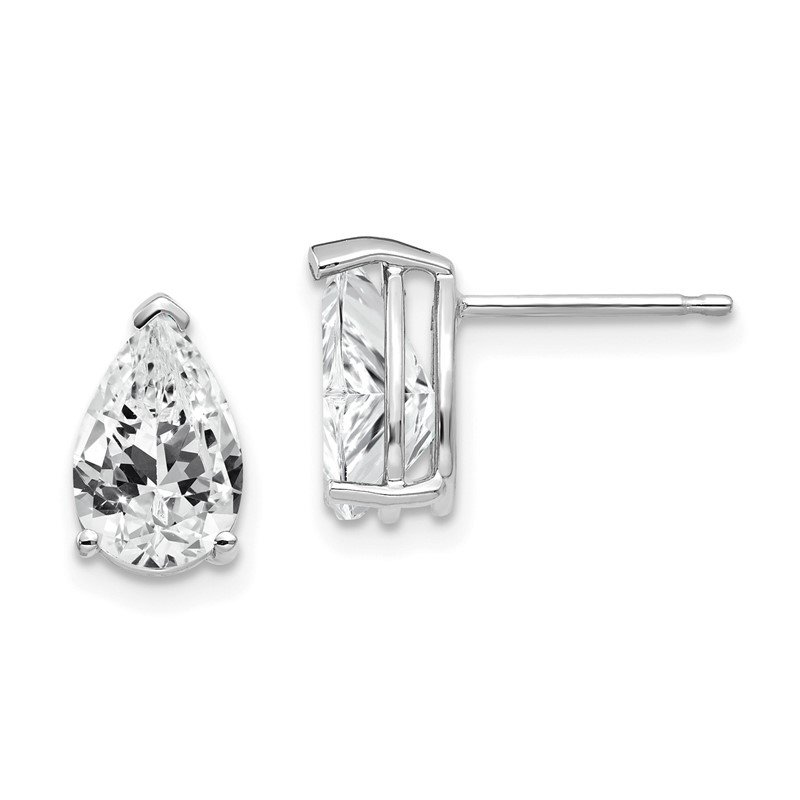Quality Gold 14k White Gold 9x6mm Pear Cubic Zirconia Earrings