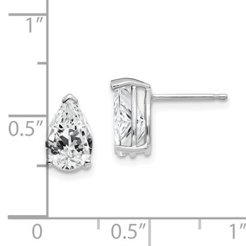 14k White Gold 9x6mm Pear Cubic Zirconia Earrings