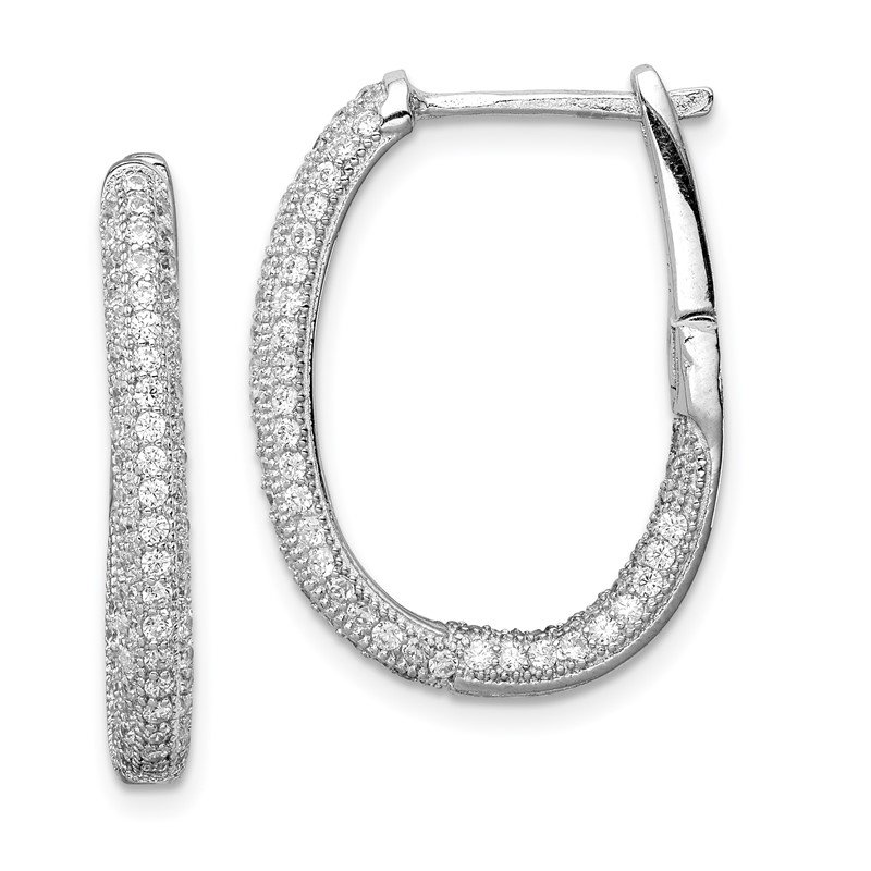 Quality Gold Sterling Silver Rhodium-plated CZ In/Out Hinged Post Hoop Earrings