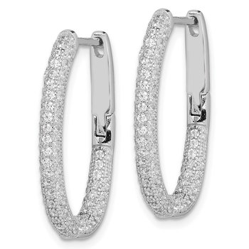 Sterling Silver Rhodium-plated CZ In/Out Hinged Post Hoop Earrings