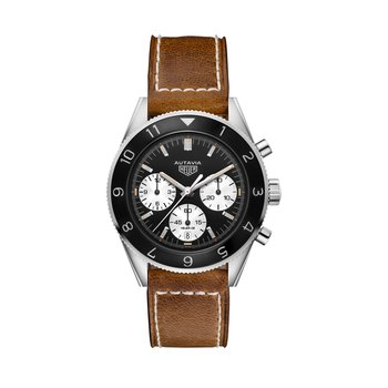 Autavia Automatic Chronograph. The Steel 42 mm Watch Has The Caliber Heuer 02 In-House Movement, Black Dial With White Sub-Dials, A Ratcheted  Bezel And Brown Leather Strap With Pin-Buckle Clasp. Model CBE2110.