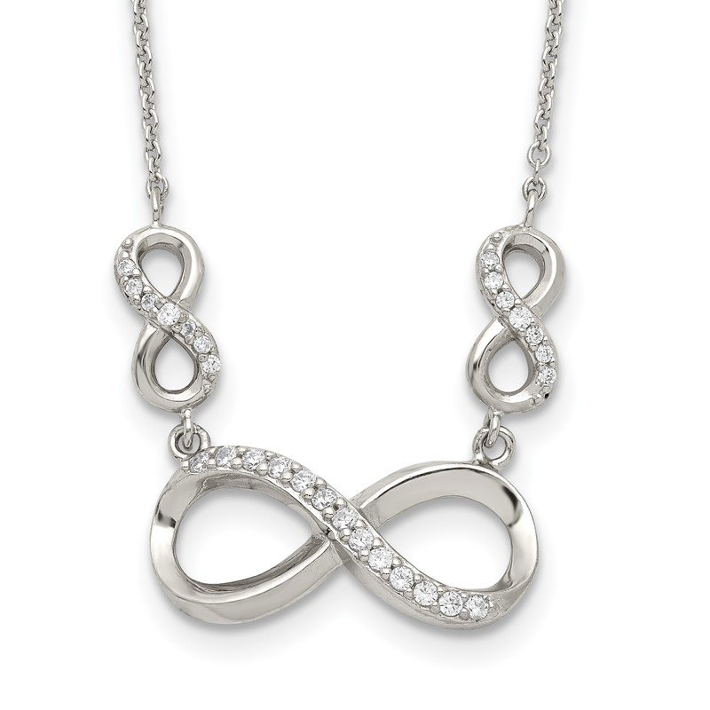 Fine Jewelry by JBD Sterling Silver Polished CZ Infinity Symbol Necklace