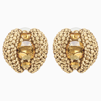 Tigris Stud Clip Earrings, Gold tone, Gold-tone plated