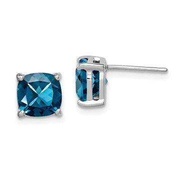 Sterling Silver Rhodium Plated London Blue Topaz Post Earrings