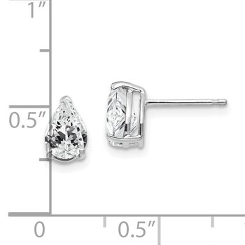 14k White Gold 7x5mm Pear Cubic Zirconia Earrings
