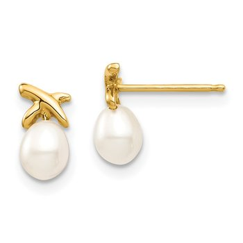 14k Madi K 4-5mm White Rice Freshwater Cultured Pearl Post Earrings
