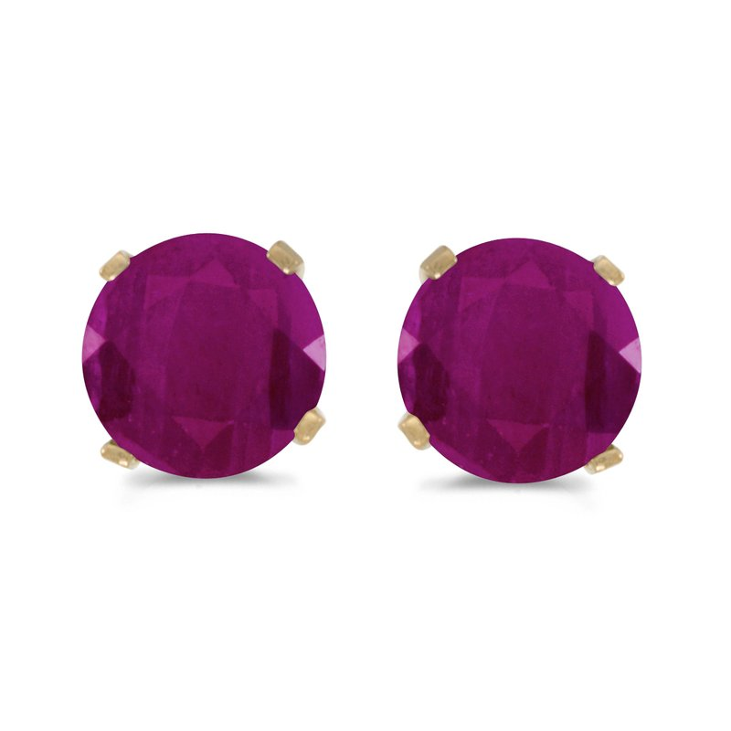 Color Merchants 5 mm Natural Round Ruby Stud Earrings Set in 14k Yellow Gold