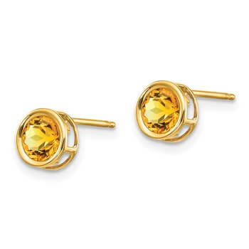 14k 5mm Bezel Citrine Stud Earrings