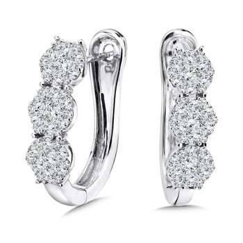 Pave set Diamond Twisted Hoops in 14k White Gold (1/2 ct. tw.) JK/I1