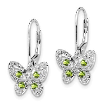 Sterling Silver Rhodium-plated Peridot & Diamond Earrings